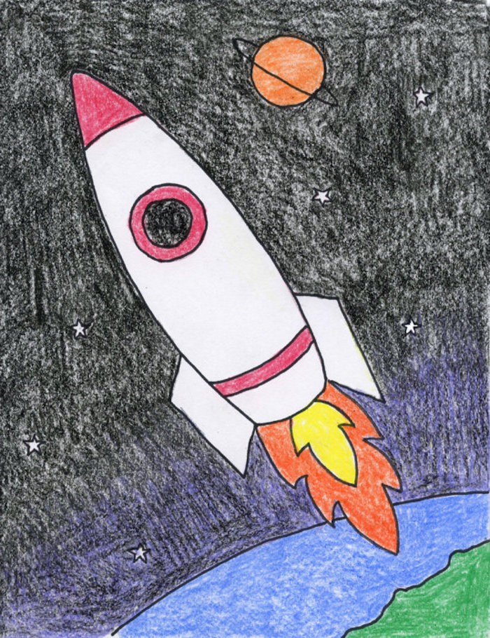 rocket flying into space, over earth and planet in the background, cute cool drawings, drawing colored with crayons