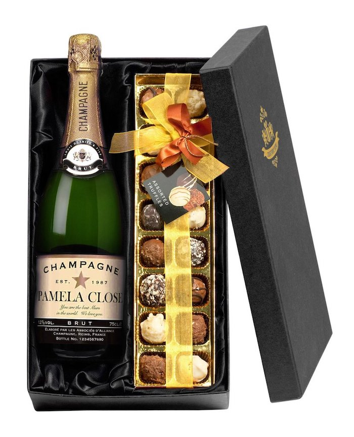 personalised bottle of champagne, assorted truffles, valentine day gifts for girlfriend, placed in a black box