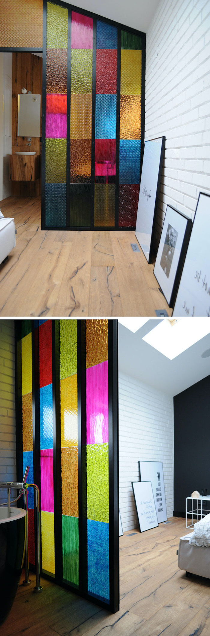 room divider with colored glass, placed between bathroom and bedroom, antique stained glass windows, white brick walls