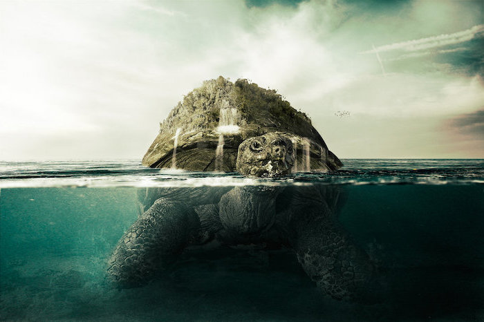 large sea tortoise, walking on the bottom of ocean, half of it above water, vintage aesthetic wallpaper