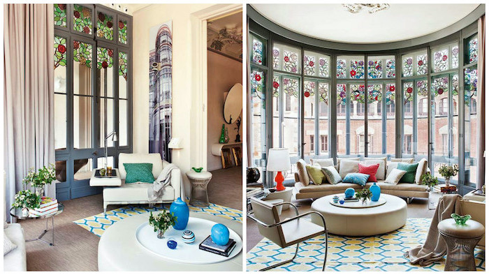 side by side photos of living room, large windows from floor to ceiling, leaded glass, white sofa and armchairs