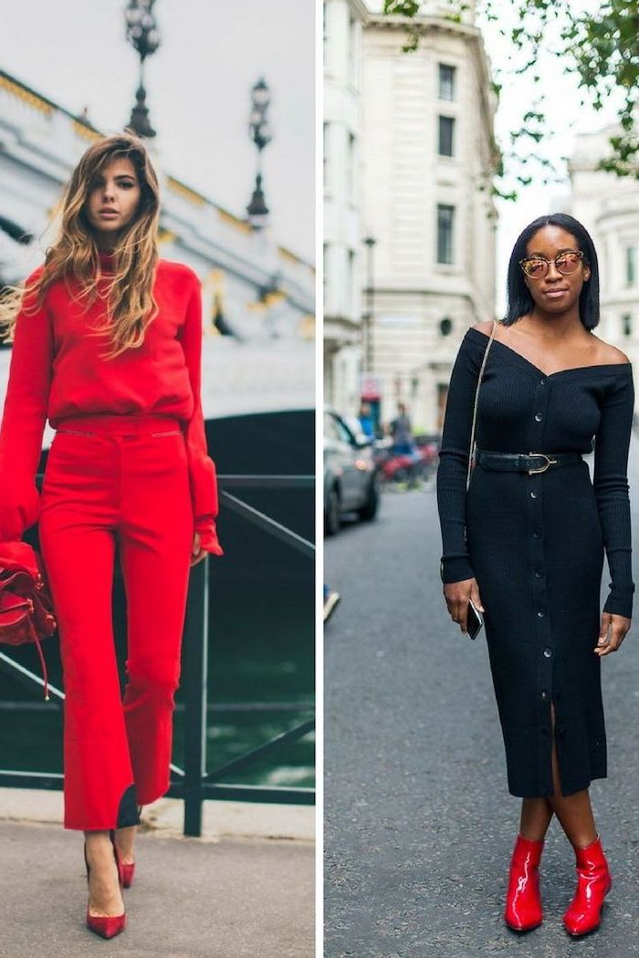 side by side photos, two women with different outfits, valentines day clothes, outfits in red and black