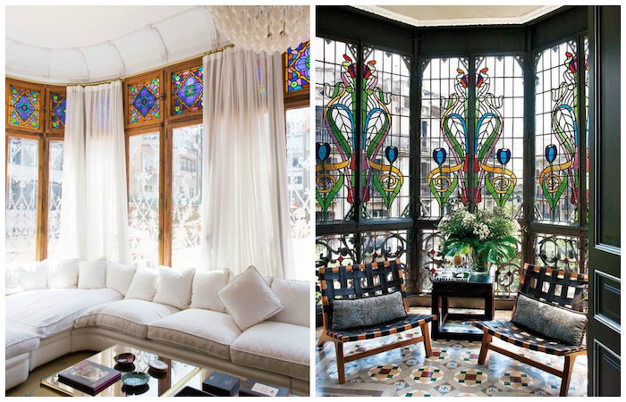 side by side photos of rooms with large windows, antique stained glass windows, white corner sofa, two wooden armchairs