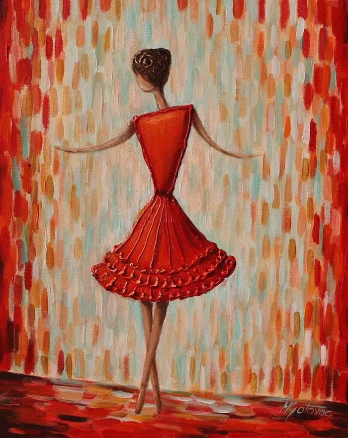 silhouette of a woman, wearing a red dress barefoot, diy canvas painting, colorful background, made up of brush strokes