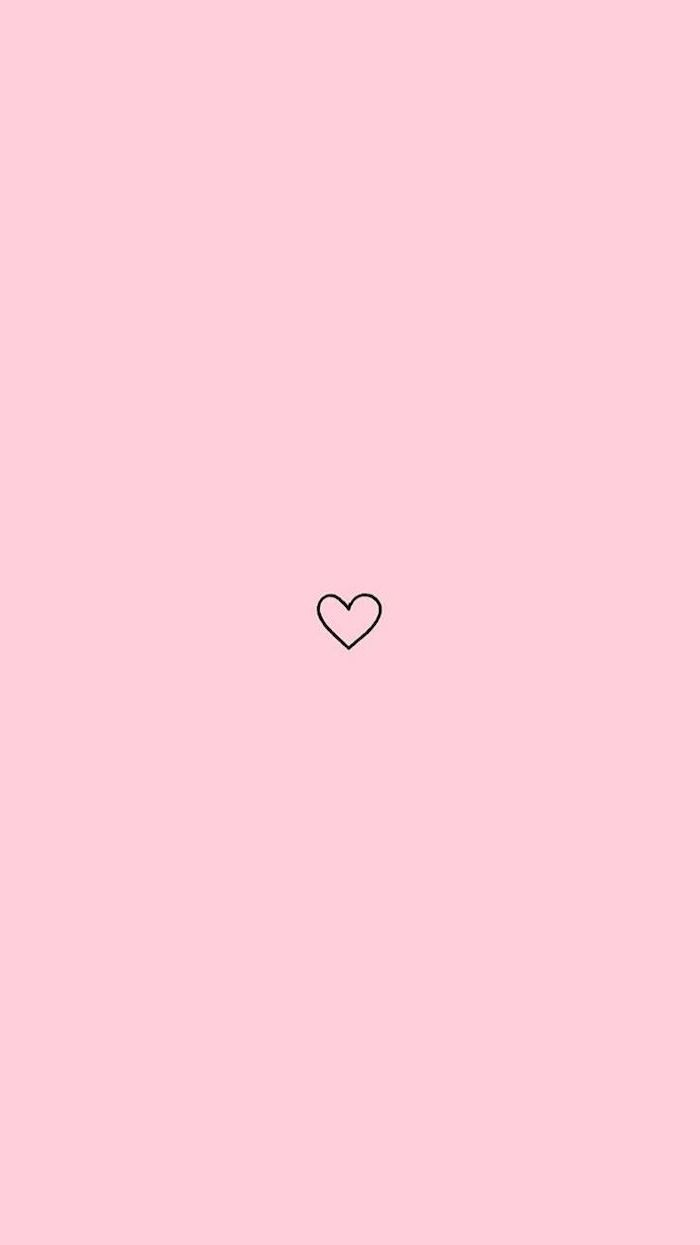 black outline of a heart, aesthetic lockscreen, pink background, pink aesthetic