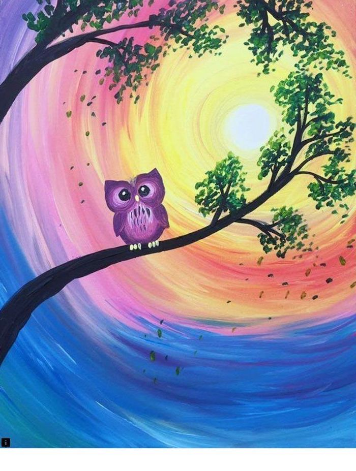 purple owl standing on a tree branch, diy canvas painting, sun in the background, surrounded by orange pink blue sky