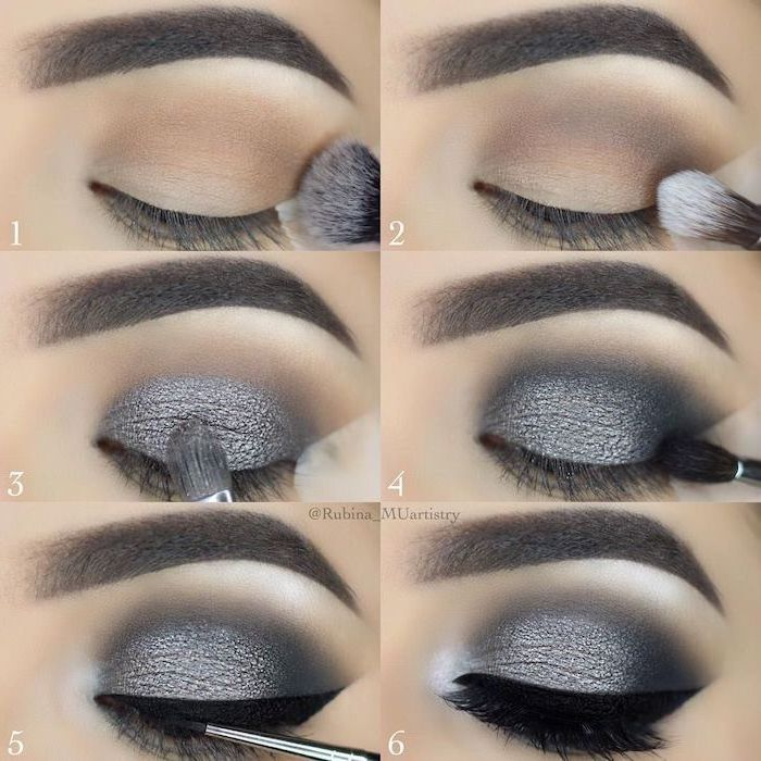 step by step diy tutorial, eyeshadow for blue eyes, silver and black eyeshadow colors, smokey eye, black cat eyeliner