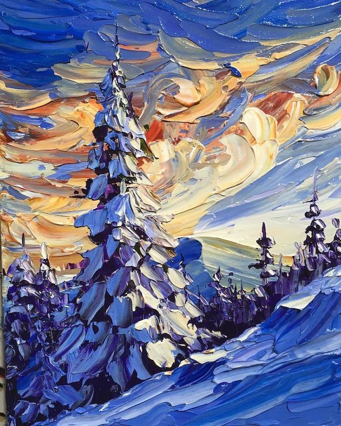 snowy mountain landscape, tall trees covered with snow, diy canvas painting, yellow and blue sky