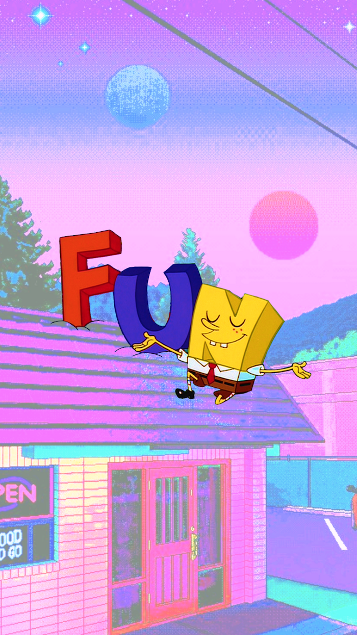 sponge bob inspired animated image, house with dun written on its roof aesthetic lockscreen, pink and blue sky