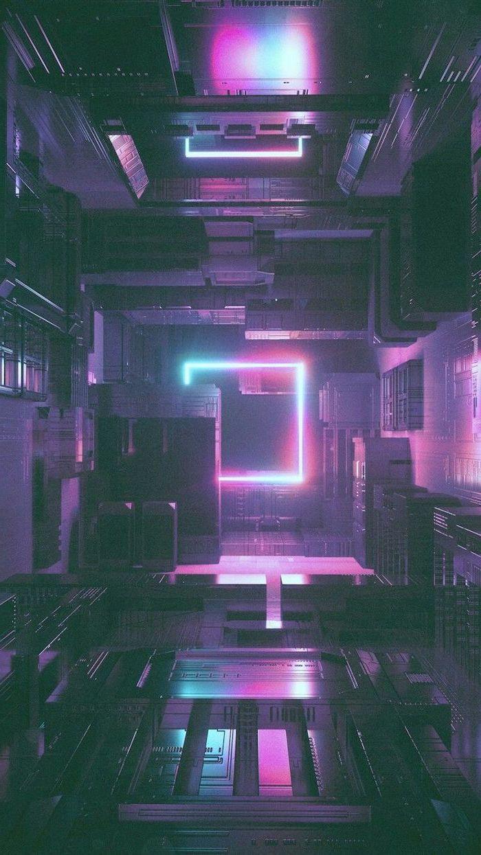 futuristic wallpaper, aesthetic lockscreen, square neon light in the middle, illuminating in different colors