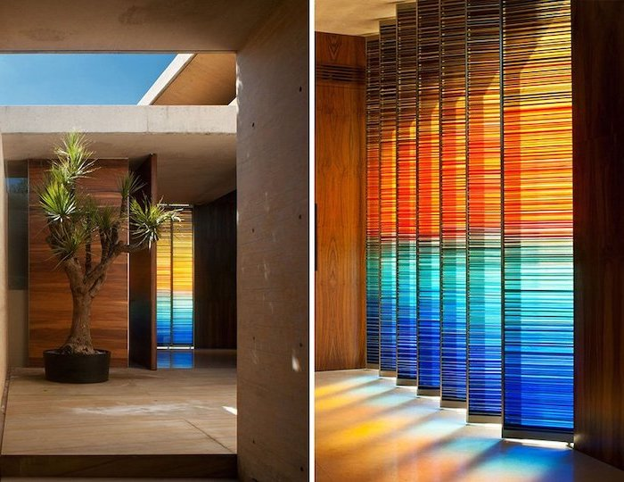 side by side photos, tall room divider panels with colored glass, antique stained glass windows, white tiled floor