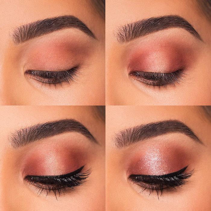 step by step diy tutorial, rose gold glitter eyeshadow colors, black cat eyeliner, eyeshadow for blue eyes