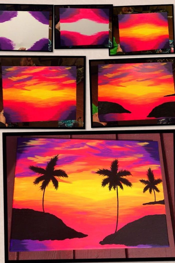 easy things to paint on a canvas, photo collage of step by step diy tutorial, palm trees on the sunset sky, how to paint the sea in acrylics