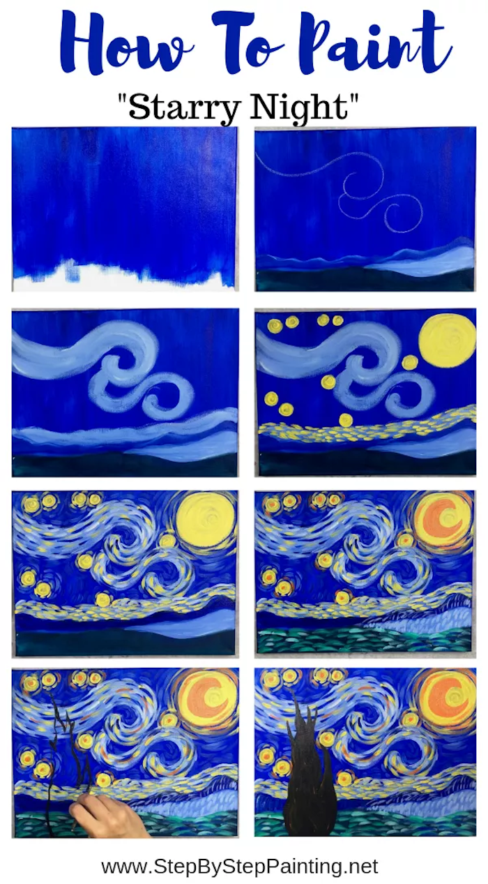 how to paint starry night by vincent van gogh, easy things to paint on a canvas, photo collage of step by step diy tutorial
