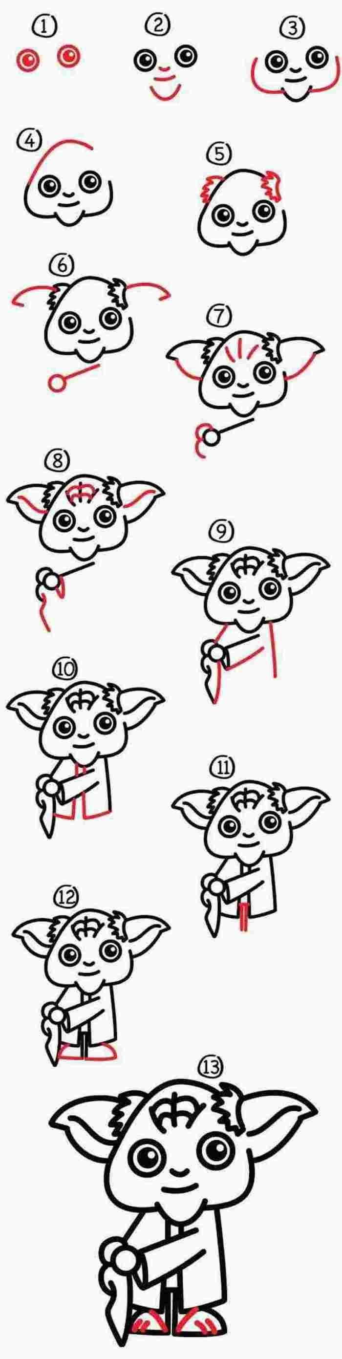 how to draw yoda in thirteen steps, step by step diy tutorial, black and white sketch, white background, cute drawings for kids