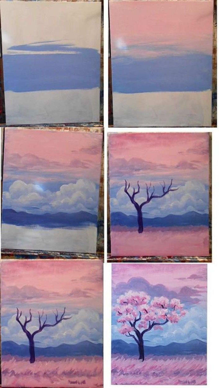 photo collage of step by step diy tutorial, easy things to paint on a canvas, drawing a tree with pink blossoms at sunset
