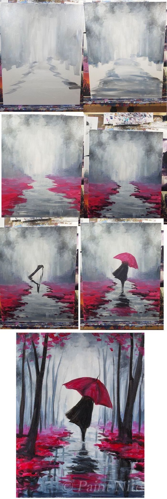 easy things to paint on a canvas, photo collage of step by step diy tutorial, woman with red umbrella walking in the forest