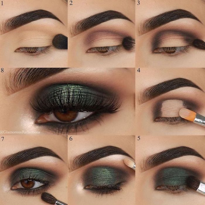dark green eyeshadow colors, step by step diy tutorial, nude eyeshadow look, woman with brown eyes, dark thick eyebrows