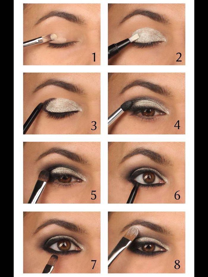 step by step diy tutorial, silver white eyeshadow color, smokey eye tutorial, nude eyeshadow look, black eyeliner