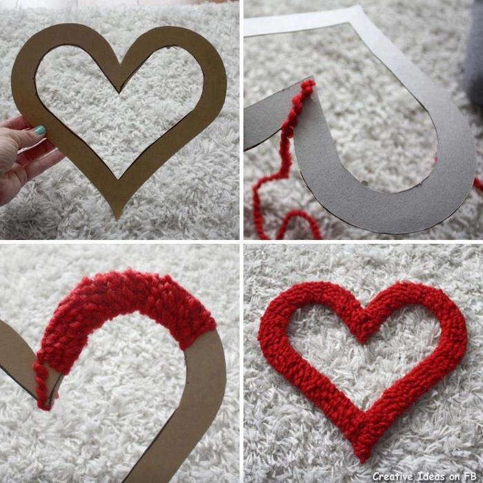 photo collage of step by step diy tutorial, valentine's day home decor, heart cutout wrapped with red yarn