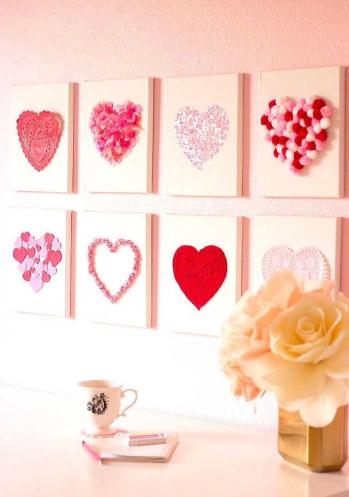 step by step diy tutorial, valentine decorations ideas, eight canvases with different hearts portrayed on them, hanging on pink wall
