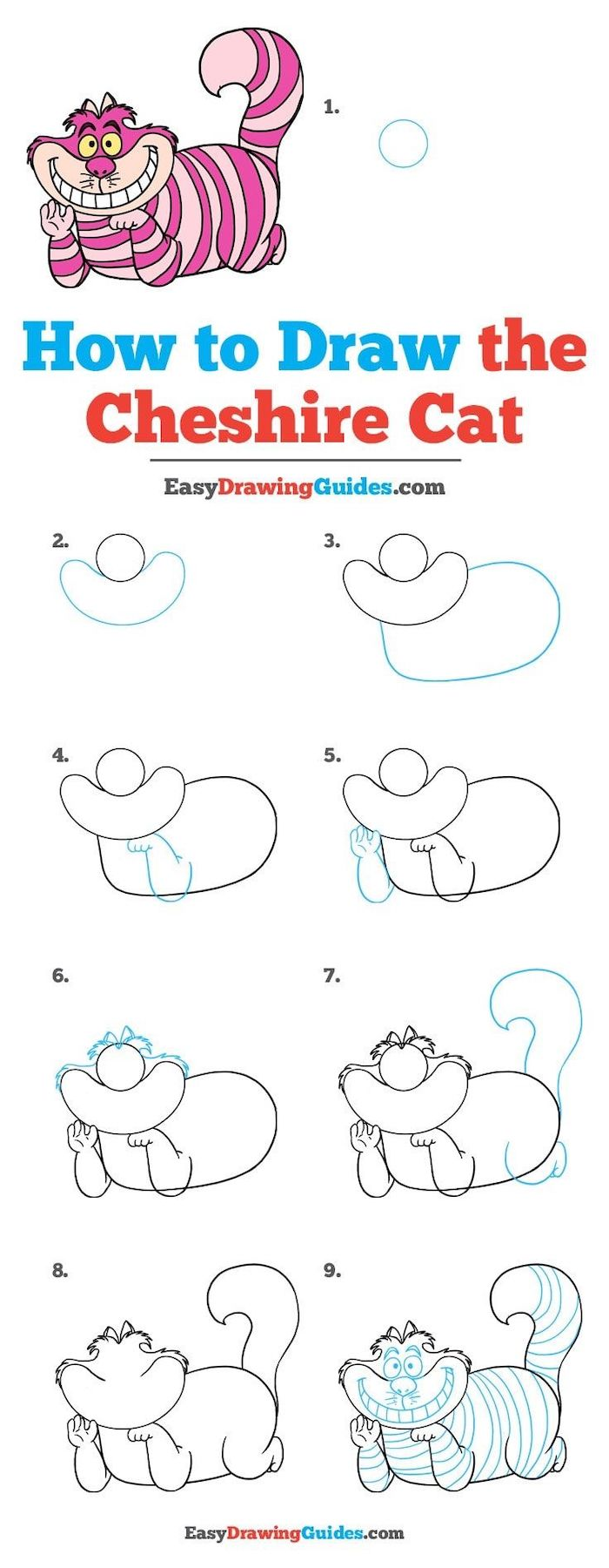how to draw the cheshire cat in nine steps, cute drawings for kids, step by step diy tutorial, white background