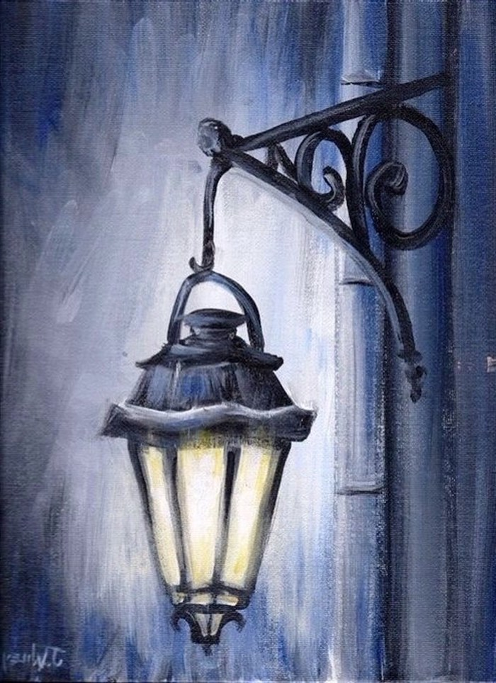 street lamp, hanging from the side of a building, easy things to paint on a canvas, grey background