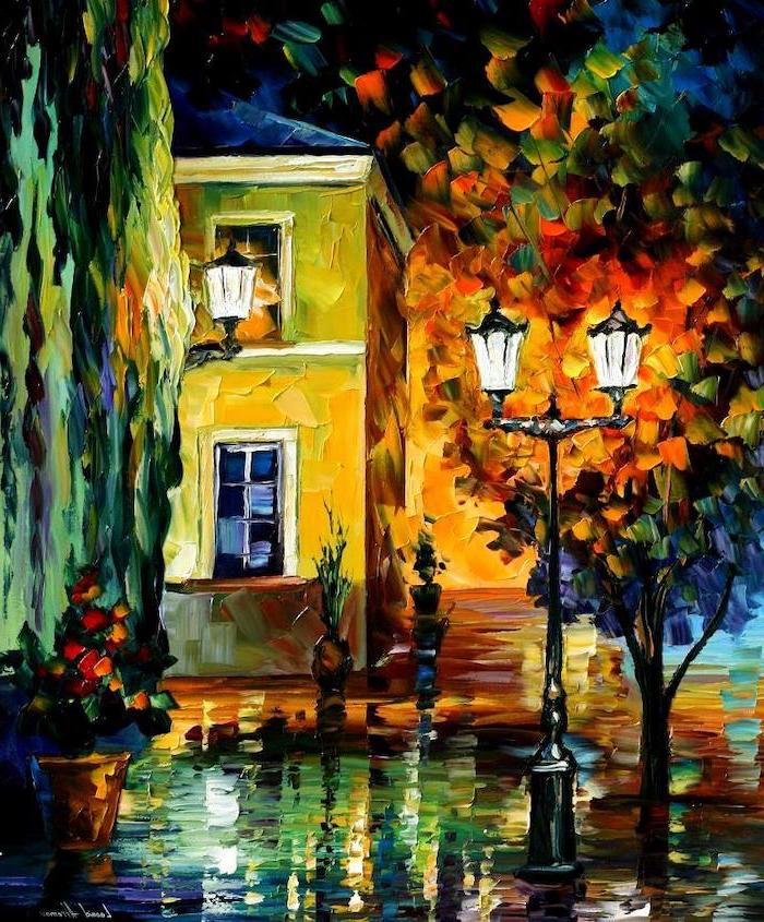acrylic painting ideas for beginners on canvas, street lamps in front of a house, surrounded by colorful trees