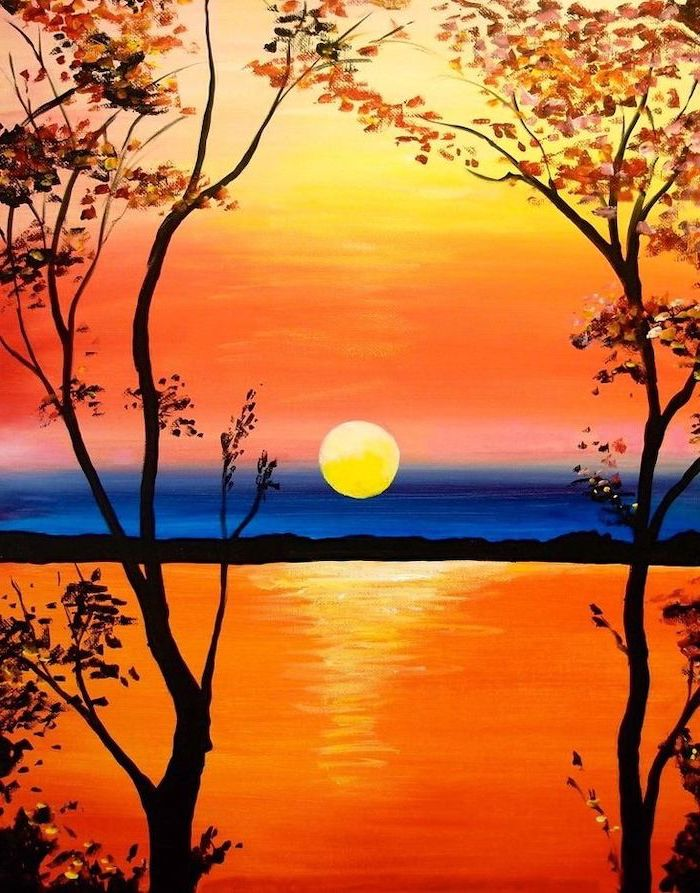 sun rising over the ocean, two trees with orange leaves at the forefront, acrylic painting ideas for beginners on canvas