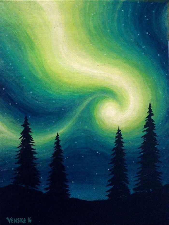 northern lights shining in the sky, acrylic painting ideas for beginners on canvas, tall dark trees under the sky