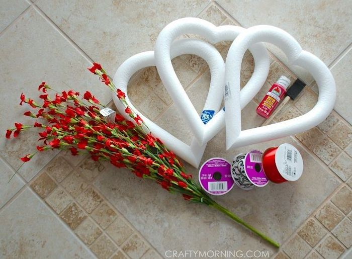 heart decorations, step by step diy tutorial, three foam hearts, faux flowers, red and black and white ribbons