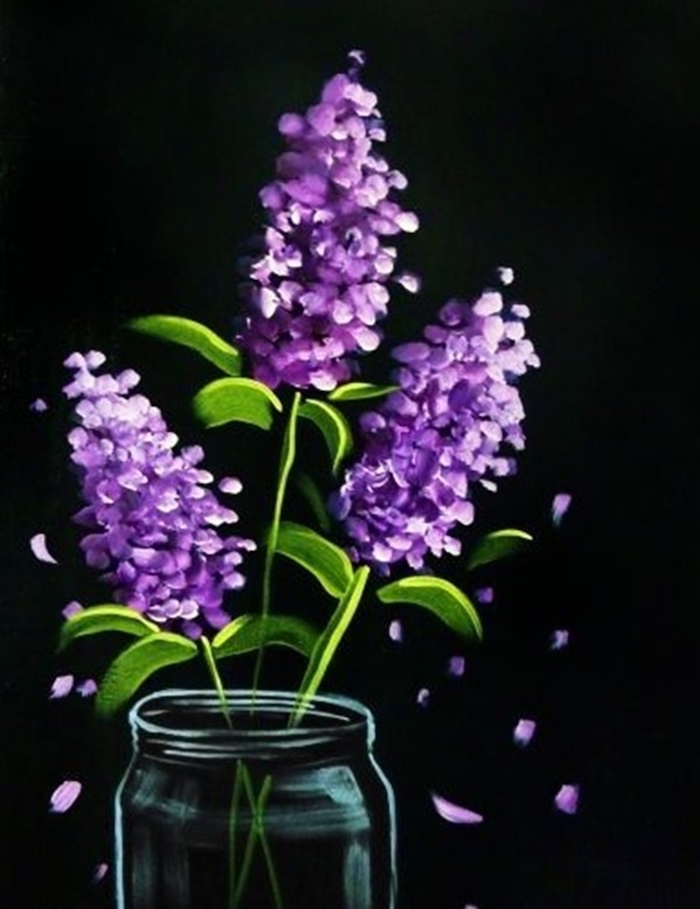 three lilacs bouquet, placed in a glass vase, acrylic painting ideas for beginners on canvas, black background