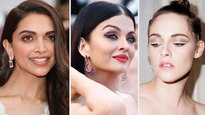 three side by side photos, aishwarya rai, kristen stewart, nude eyeshadow look, glittery eyeshadow colors