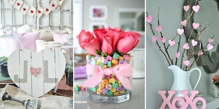 three side by side photos, valentine table decorations, different decorations, roses bouquet, wooden heart shaped board