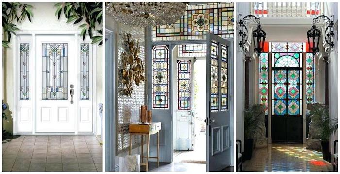 three side by side photos, front doors decorated with stained glass, stained glass window panels