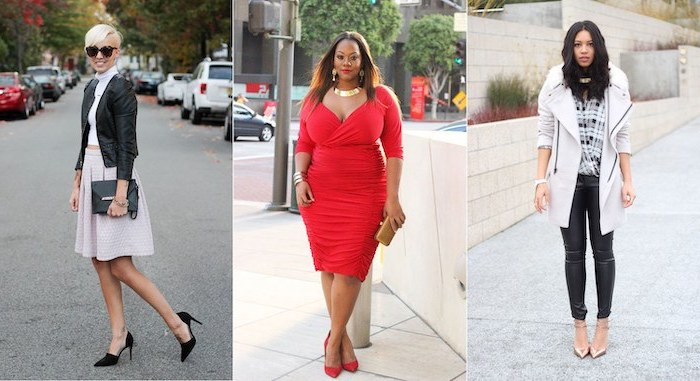 three side by side photos, women wearing three different outfits, valentines day clothes, in white black and red