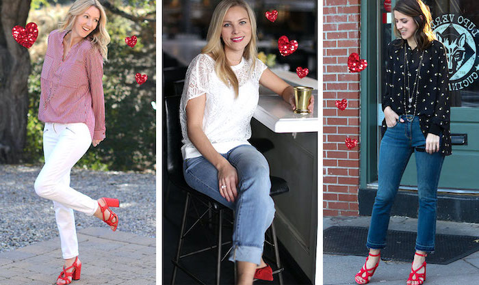 valentines day clothes, three side by side photos, women wearing different outfits, all three with red sandals