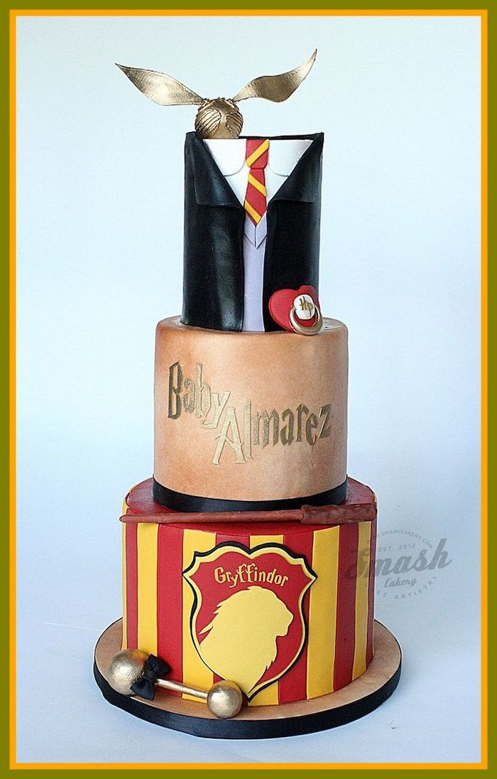 three tier gryffindor cake, bottom layer made with red and yellow fondant, easy harry potter cake, gryffindor uniform top tier