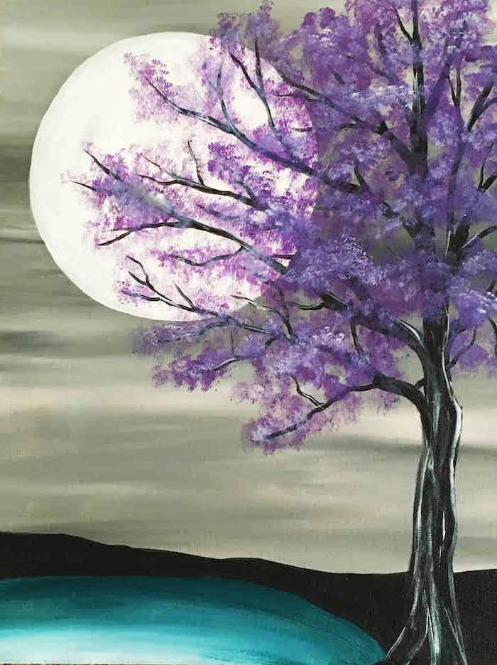 easy canvas painting ideas for beginners, black tree with purple leaves, large moon in the background, grey sky