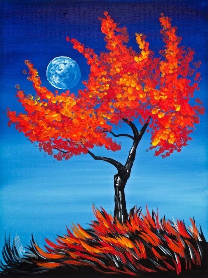 tall tree with yellow and orange leaves, moon in the background, easy canvas painting ideas for beginners, blue sky