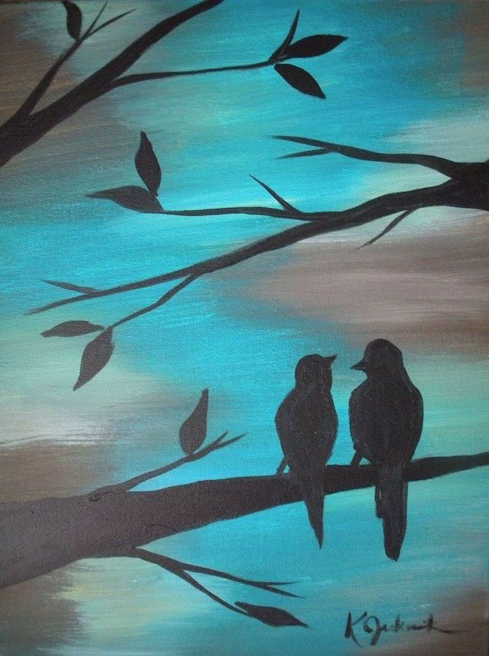 two birds standing on a tree branch, easy canvas painting ideas for beginners, grey and blue background