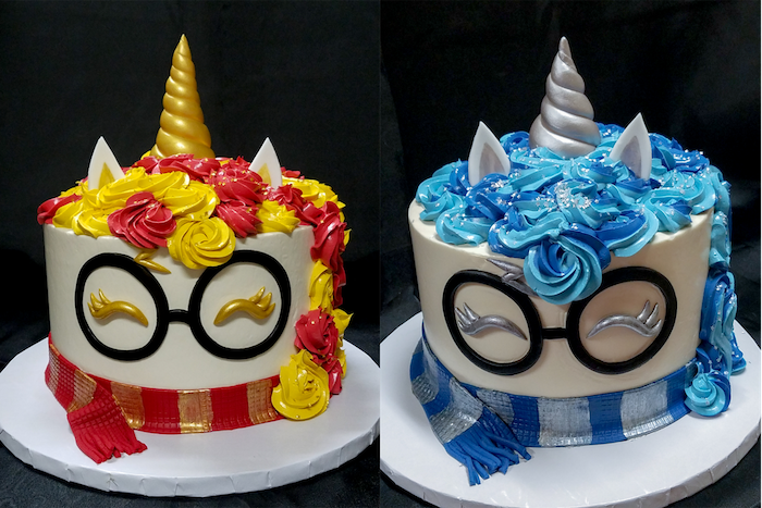 diy harry potter cake, side by side photos, unicorn gryffindor and ravenclaw cakes, made with red yellow and blue buttercream