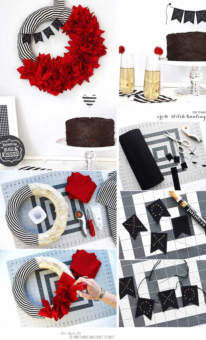 photo collage of step by step tutorial, wreath made with black and white fabric, valentines decoration ideas, red napkins