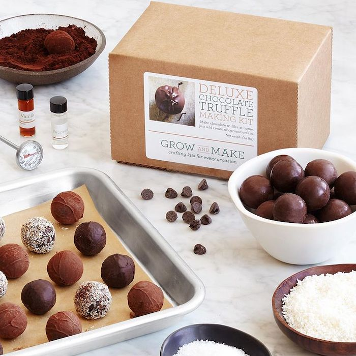 deluxe chocolate truffle making kit, unique valentines day gifts, truffles arranged on a pan, truffles in a bowl on the side
