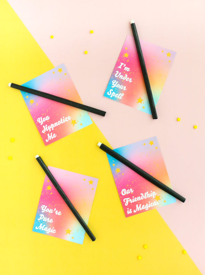 valentines day gifts for her, step by step diy tutorial, cards with messages and magic wands, yellow and blush background