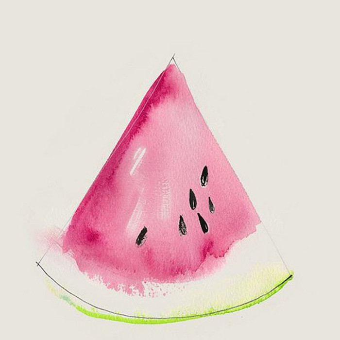 watercolor painting of watermelon slice, easy drawings for kids, colored in pink and green on white background