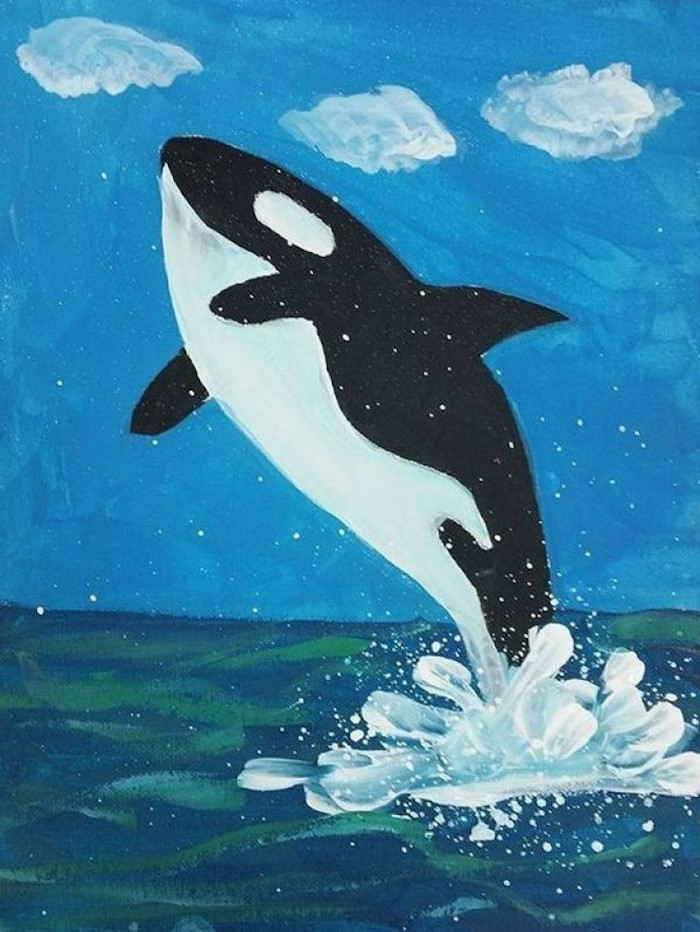 whale splashing in water, easy drawing ideas, blue sky and clouds in the background, colored with acrylic paint