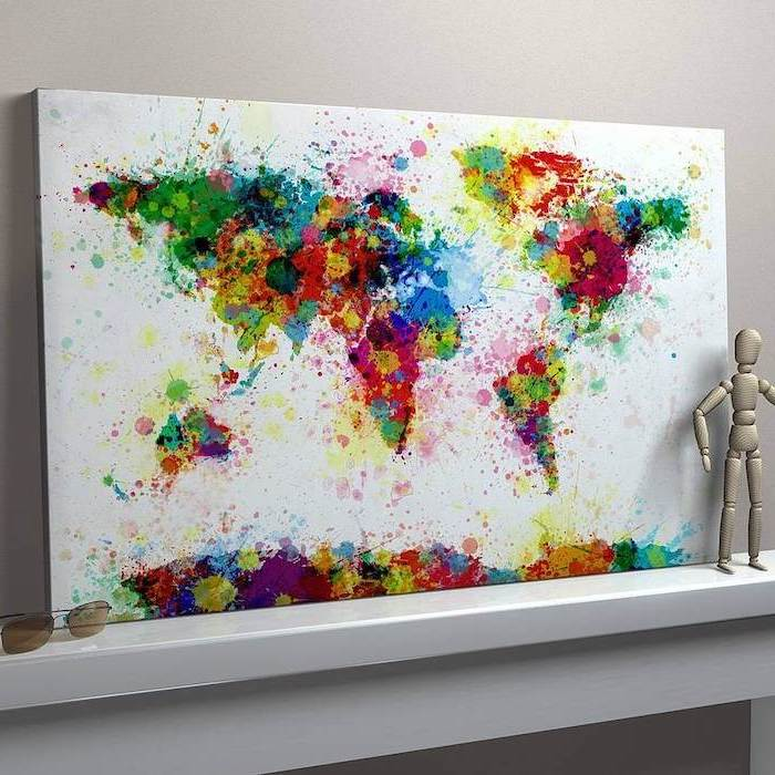 map of the world, white background, painted in different colors, easy canvas painting ideas for beginners, made with watercolors