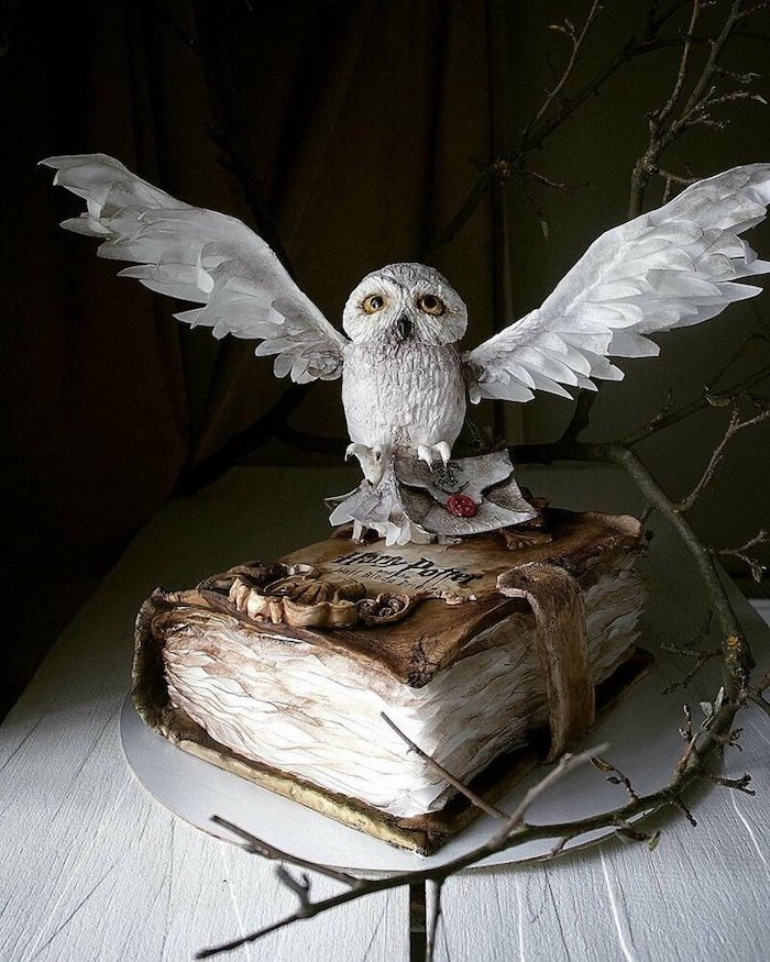 one tier cake in the shape of a book, hedwig the owl on top, harry potter birthday cake ideas, placed on wooden surface
