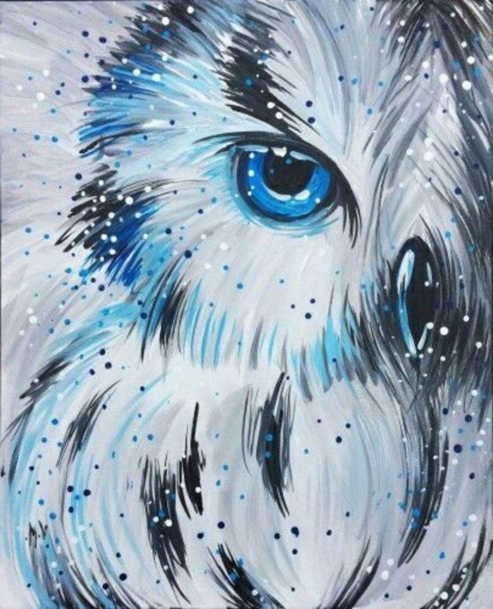what to paint on a canvas, close up of a white owl, blue eyes, blue and black brush strokes